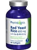 Physiologics levure de riz rouge w / CoQ10 60 gels