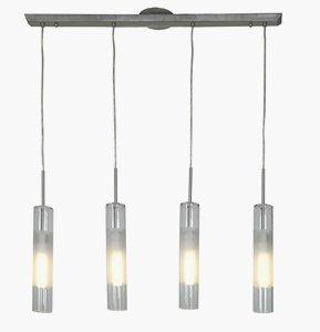 Access Lighting 50549-BS/CLOP Dezi 4-Light Linear Energy Efficient CFL Pendant with Brushed Steel Finish and Opal/Frosted Center Ring Glass Shades