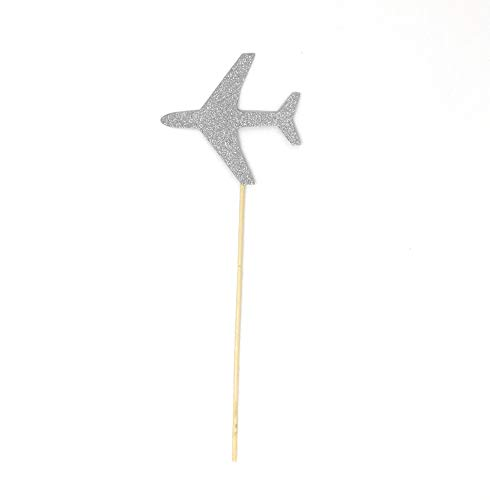 PaperGala Airplane Double Sided Centerpiece Sticks Set of 8 Real Glitter (Silver) ()