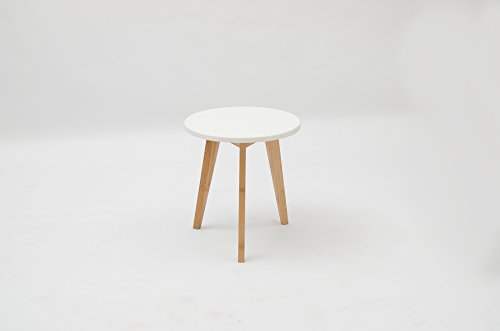 Pallamila Three Legged Bamboo End Table Modern Round Coffee