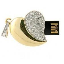 Microware 16 GB Golden Metal Heart Shape Designer Pendrive Pen Drives