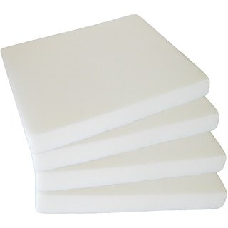 "4-Pack White Upholstery Foam Seat Cushion Inserts; Square 2"" x 16"" x 16"" Foam Tiles Project Foam, Pillow, & DIY Home Décor"