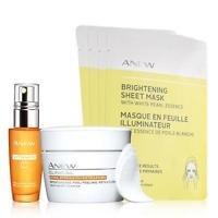 Avon Brighten up, Vitamin C brightening serum, Brightening Sheet Mask, and extra strength retexturizing peel