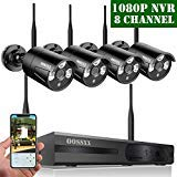 OOSSXX 8-Channel HD 1080P Wireless Network/IP Security Camera System(IP Wireless WiFi NVR Kits),4Pcs 960P 1.3 Megapixel Wireless Indoor/Outdoor IR Bullet IP Cameras,P2P,App,No Hard Drive
