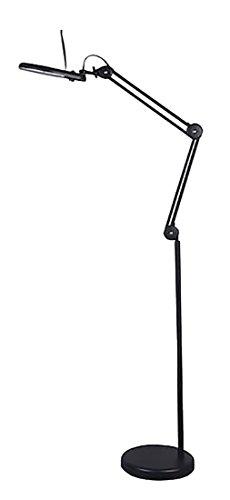 Tensor 22-Watt T5 Circleline Magnifier Swing Arm Floor Lamp, Black, 63-39/100†H