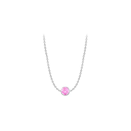 Created Pink Sapphire Necklace on 14K White Gold Bezel Set 2.00 ct.tw ()