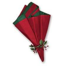 C & F Set of 4クリスマスレッド&グリーン布ナプキン   B016B0Q0TM