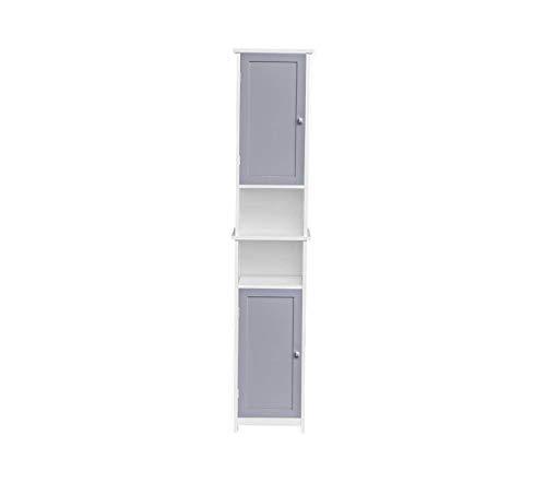 Еvidеcо Office Home Furniture Premium Custom DIY Bathroom Tower Linen Cabinet-2 Doors-Diamond Handle, White,Light Grey