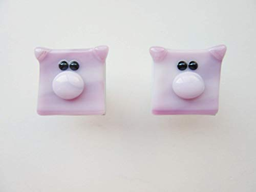 (Pink Pig Drawer Knobs Made of Fused Glass (set of 2)