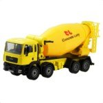 Mini Palm-Sized Metal Working Wheels Concrete Lorry Model(Yellow)