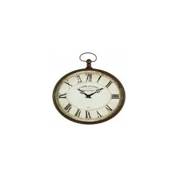 Amazoncom Rustic White Metal Pocket Watch Wall Clock by Haysom
