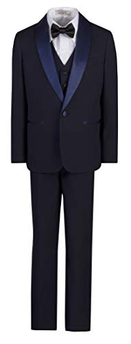 Boys Dinner Jacket - Boys Slim Fit Shawl Dinner Jacket Tuxedo Suit in Toddlers to Boys Sizing Navy Blue