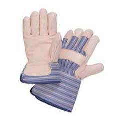 Y2009M - Leather Palm, Wing Thumb - Grain Cowhide Leather Palm Gloves with Gauntlet Cuff, Wells Lamont - - Lamont Corp Wells Cowhide Glove