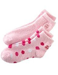 Earth Therapeutics, 2-pk. Aloe-Infused Socks, Pink Polka Dot & Solid by Earth Therapeutics