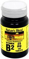 Nature Blend de vitamine B-2, 25 mg, comprimé, 100 ct.
