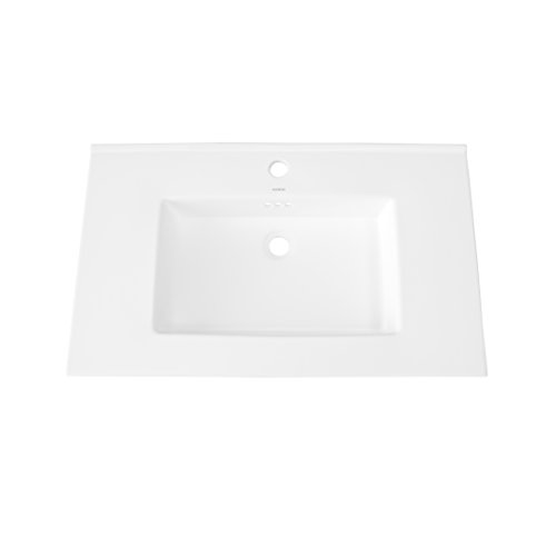 Home Depot Undermount Sinks - RONBOW ESSENTIALS Larisa 32 Inch Ceramic Sinktop with Single Faucet Hole in White 215532-1-WH
