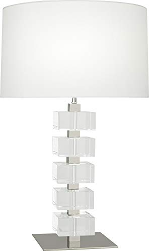 Robert Abbey 175X Jonathan Adler Monaco - One Light Table Lamp, Polished Nickel/Clear Crystal Blocks Finish with White Silk - Monaco Silk