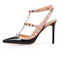 Chris-T Chirs-T Women's Blac Rivets Studs Straps Stilettos Pumps Pointed Toe Sandals 7.5(M) US (Stud Sandal Strap Toe)