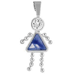 Birthstone Girl Charm Sterling Silver with Bail September