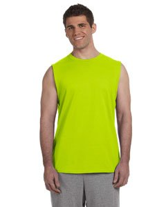 (Gildan Ultra CottonTM 50/50 Cotton/Poly Sleeveless T-Shirt Safety Green XL)