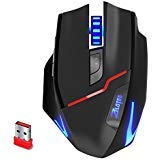 Zelotes F-18 Dual-Mode Wired/Wireless Rechargeable MMO Gaming Mouse with USB Receiver, 7 Buttons, 3200DPI 6 Adjustable DPI Levels, Cool LED lights, PC Game Mice For Pro Game Notebook Laptop Computer