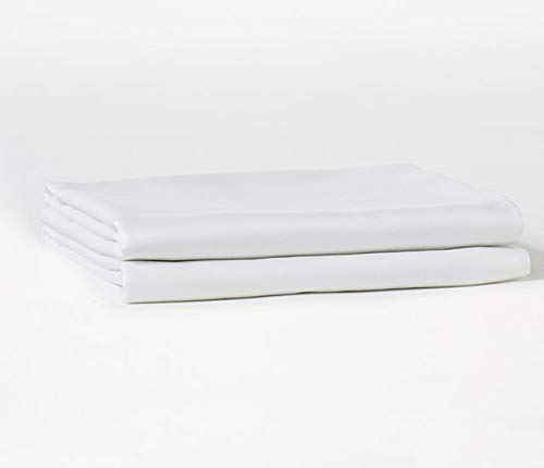 (Bokser Home Sateen Pillowcases - 100% Long Staple Cotton | Luxurious, Ultra-Soft, Cozy Sateen Weave | Back-Envelope Closure for A Modern Look | Certified Chemical-Free (Standard/Queen, White))