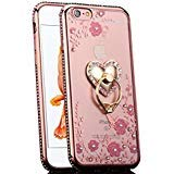 iPhone 6S Plus Case, CaseUp Glitter Crystal Heart Floral Series - Slim Luxury Bling Rhinestone Clear TPU Case With Ring Stand For iPhone 6S/ 6 Plus (5.5 Inch) ()