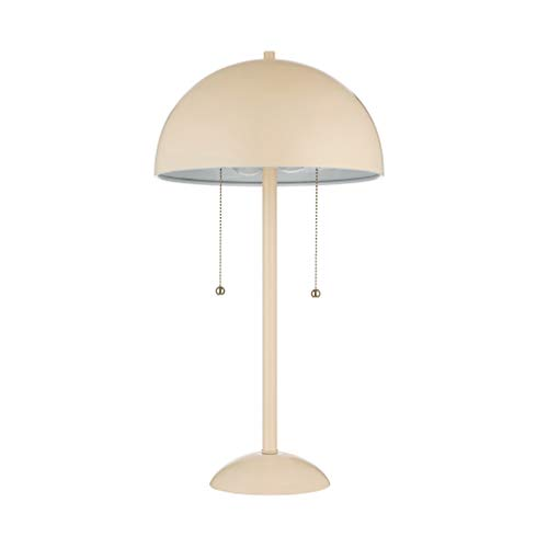 Rivet Aster Modern Dome-Shaped Table Reading Lamp with 2 LED Light Bulbs - 11 x 11 x 21 Inches, Light Pink