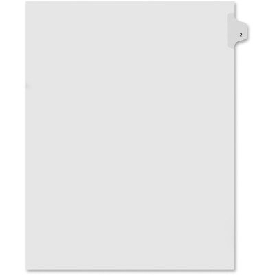 Kleer-Fax Letter Size Individual Number Index Dividers, Side Tab, 1/25th Cut, Number 2, 25 Sheets per Pack, White (81112)