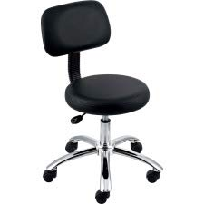 Lorell Pneumatic Height Stools with Back, 24 by 24 by 36-Inch, Black (Round Lorell Stool)