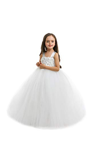 MALIBULICo Baby Girls' Off-White Fluffy Flower Girl Tutu Dress for Wedding and Birthday -