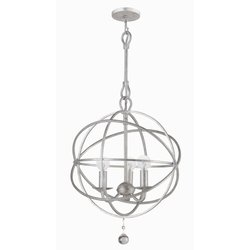 Crystorama 9225-OS Solaris 3-Light Mini Chandelier in Olde Silver