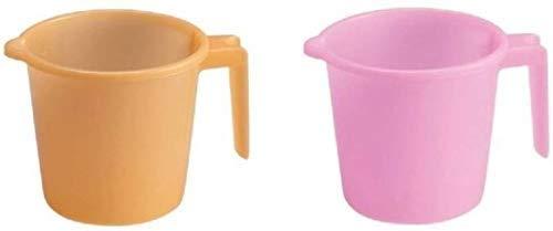 PLANET 007 Indian Plastic Mugs for Bathroom Bath Accessory Set of 2 Mugs Bathing Mugs Dabba (Bathroom Mug)