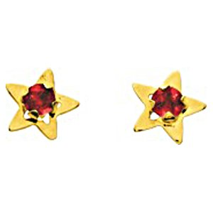 So Chic Bijoux © Boucles d'oreilles Femme Puces Etoile Star & Rubis Rouge Or Jaune 750/000 (18 carats)