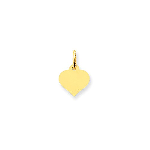 10k Yellow Gold Engravable Heart Disc Charm (0.5IN long x 0.4IN wide)