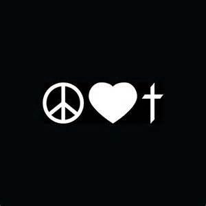 Chase Grace Studio Peace Love Cross Christian Faith Vinyl Decal Sticker WHITE Cars Trucks Vans SUV Laptops Wall Art 6.5