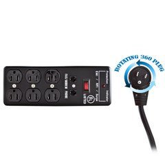 Dealsjungle Surge Protector, Flat Rotating Plug, 6 Outlet, Black, Metal, Commercial Grade, 1 X3 MOV, EMI & RFI, Modem Protector, Power Cord 10 foot