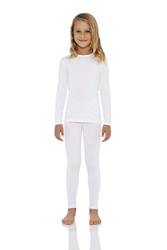 Rocky Girl's Smooth Knit Thermal Underwear 2PC Set Long John Top and Bottom Pajamas (White,S)
