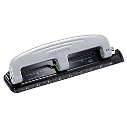3 Hole Paper Punch (PaperPro inPRESS 12 Reduced Effort Three-Hole Punch, Silver/Black (2101))