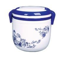 Chinese Blue And White Round 3-Compartment Microwave Safe Food Container with Lid/Divided Plate/Bento Box/Lunch Tray with Cover With Handle Grip, 1-Pack (white and blue)