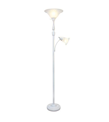 Elegant Designs LF2003-WHT 2 Light Mother Daughter White Marble Glass Floor Lamp