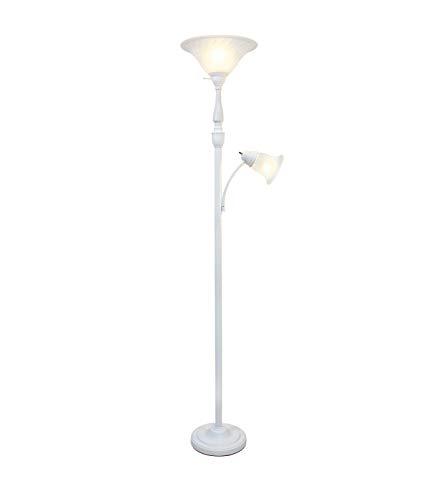 Elegant Designs LF2003-WHT 2 Light Mother Daughter White Marble Glass Floor Lamp,