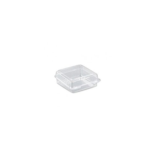"Inline Plastics VPP747 - 8"" x 8"" Square Clear Plastic Hinged Clam Shell Container - 200 per case"