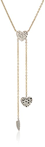14k Yellow and White Gold Heart Lariat Necklace, 17