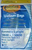 Upright Vacuum Bag (9 Kenmore Upright 50688 and 50690, Panasonic Type U-2 Vacuum Bags Microfiltration with Closure)