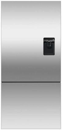 Fisher Paykel RF170BRPUX6 Bottom Mount Counter Depth Refrigerator with 17.6 Cu. Ft. Total Capacity Ice and Water Dispenser Right Hinged Door Door Storage and Pocket Handle in Stainless