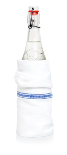 Liliane Collection Kitchen Dish Towels -13 Towels -27-Inch x 14-Inch - Classic White Tea Towels with Blue Stripes