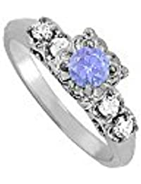 December Birthstone Tanzanite and CZ Ring 0.75 TGW