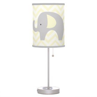 Yellow Elephant with Chevron Stripes Nursery Lamp - Yellow and GRAY trim