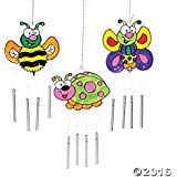 12 Paint Your Own Color Bug Sun Catcher Wind Chimes Kids Craft Suncatchers - Ladybug, Bee, Butterfly
